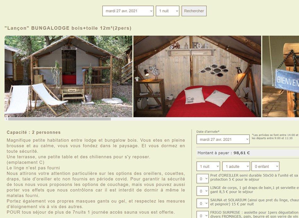 logiciel application réservation en ligne pour camping